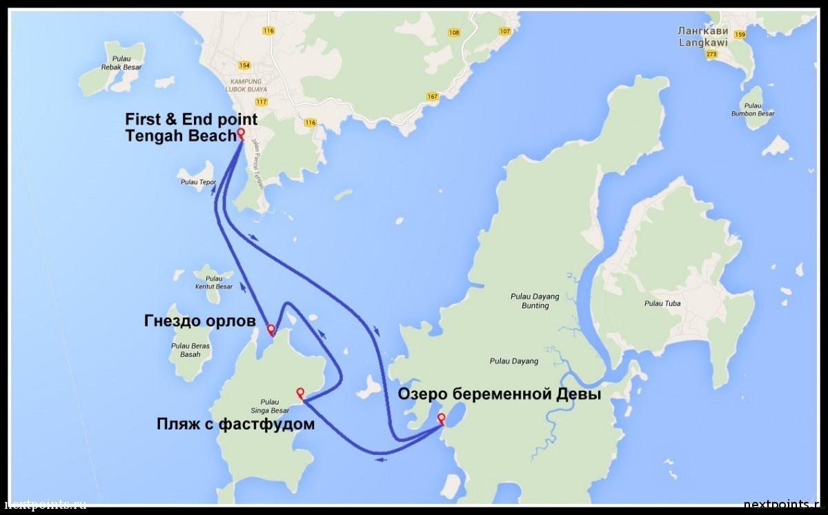 План нашего маршрута экскурсии на аквабайке по Малаккскому проливу