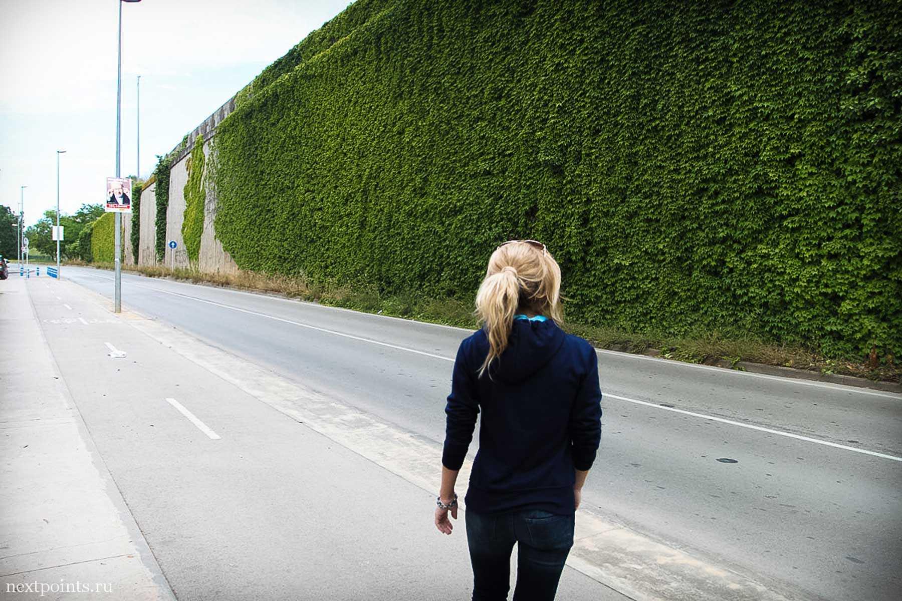 Высоченный зеленый забор в Кастельдефельсе