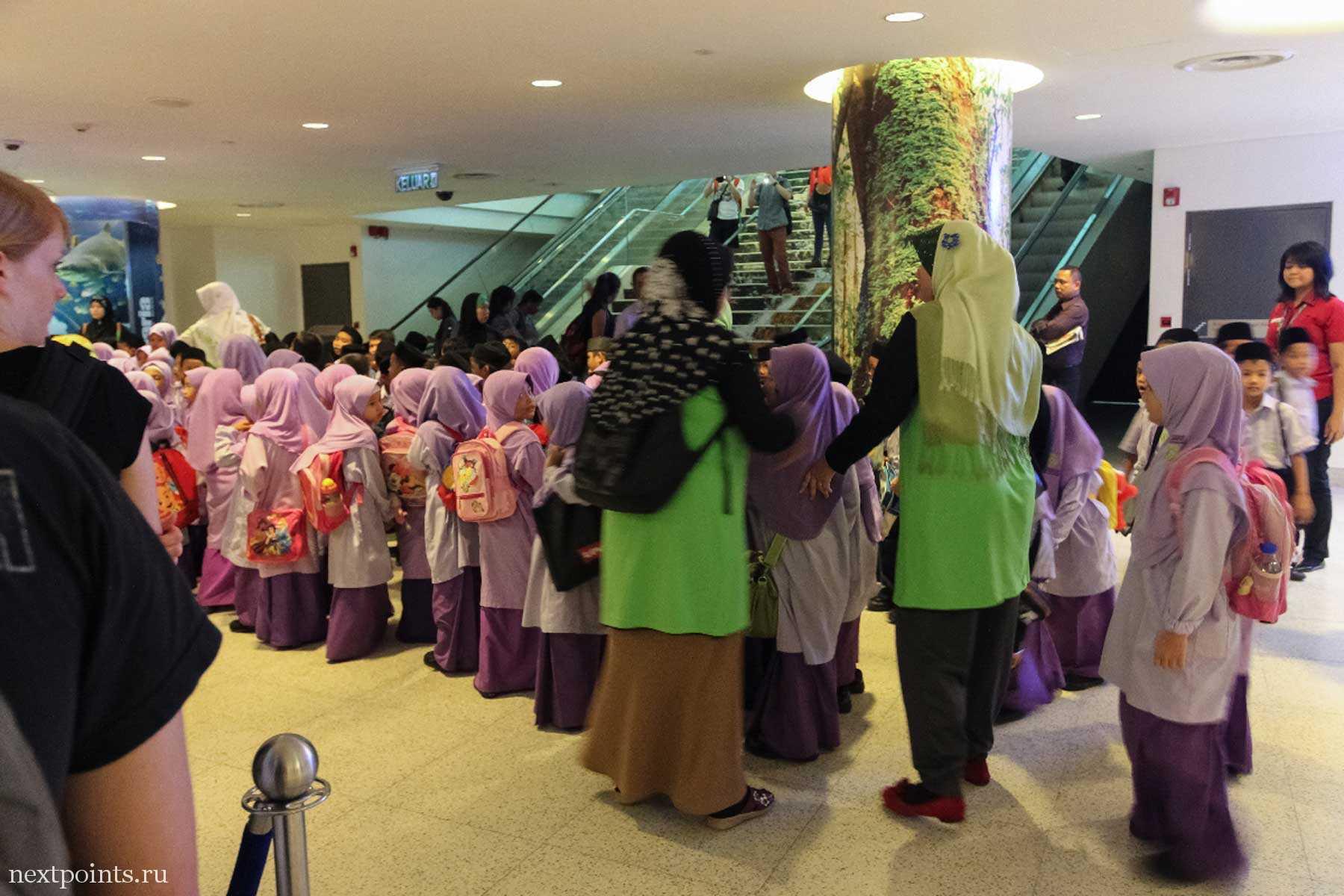 Школьная очередь в океанариум в Куала-Лумпуре