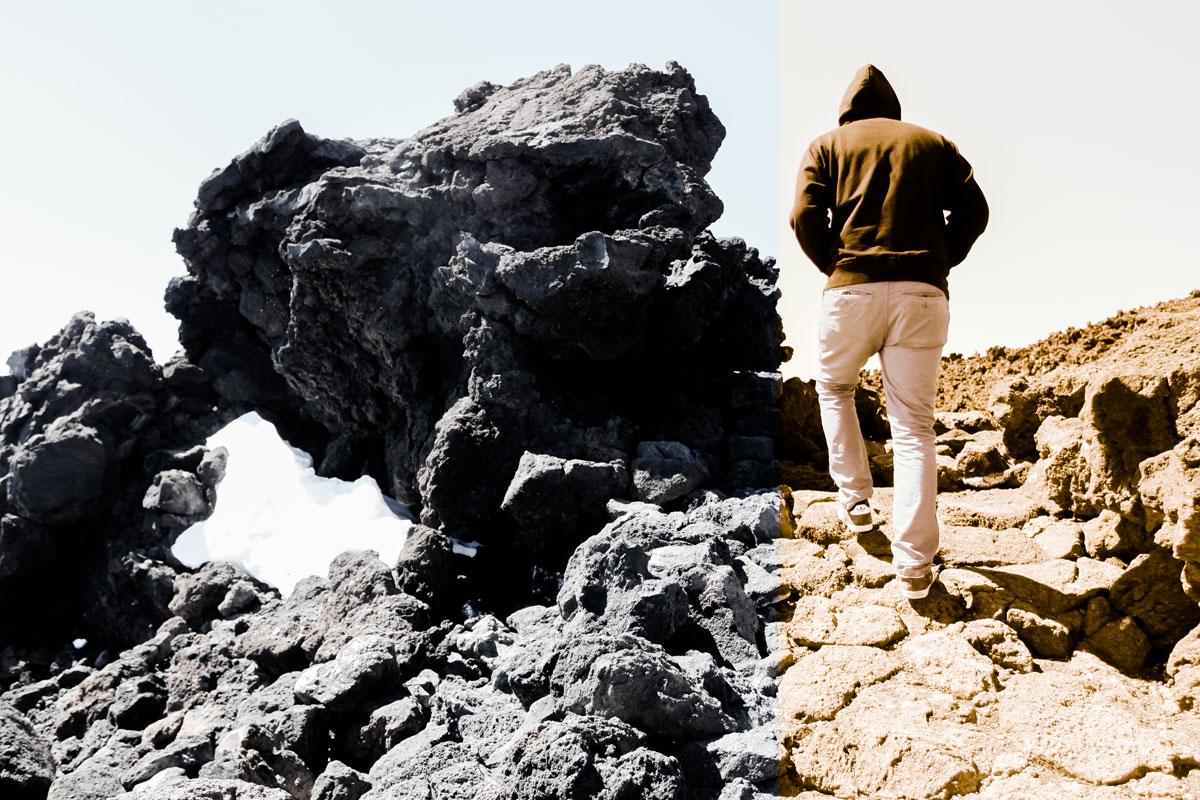 Забираемся на скалы, слева - еще не сошедший снег на горе Тейде