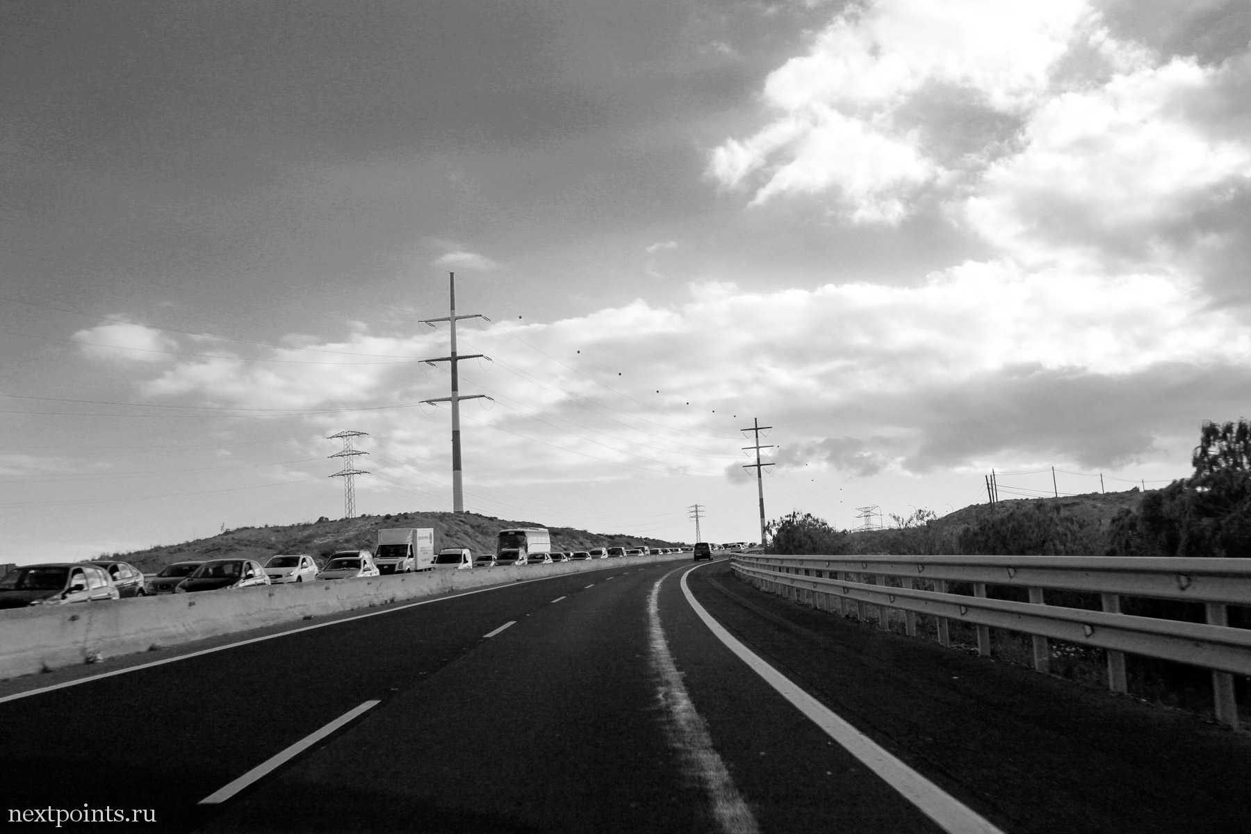 Пробка на шоссе Тенерифе из-за ДТП