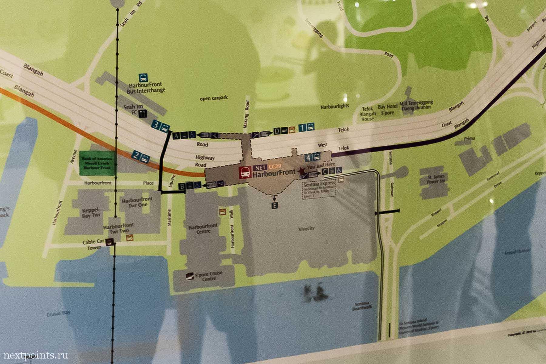 Карта станции метро Harbourfront и окружающей местности. Очень удобно.
