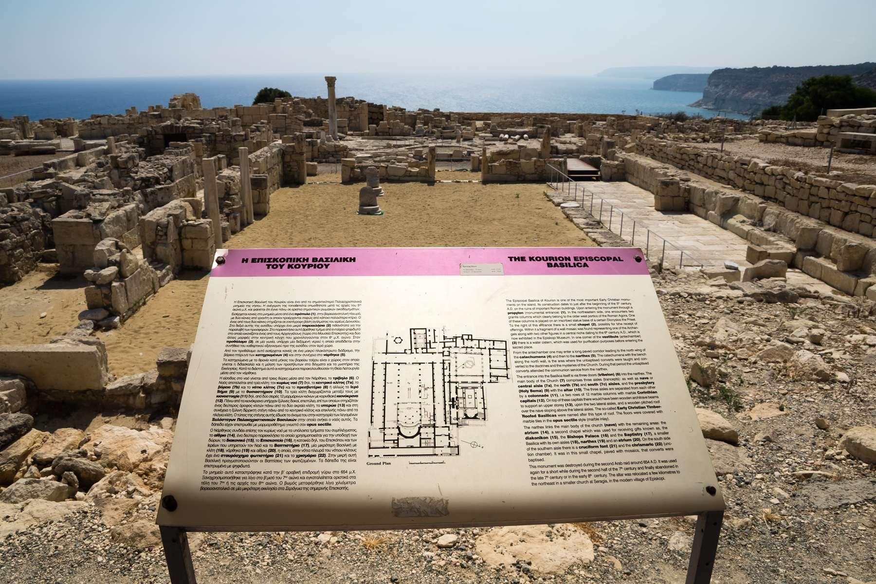 Руины епископской базилики и ее план