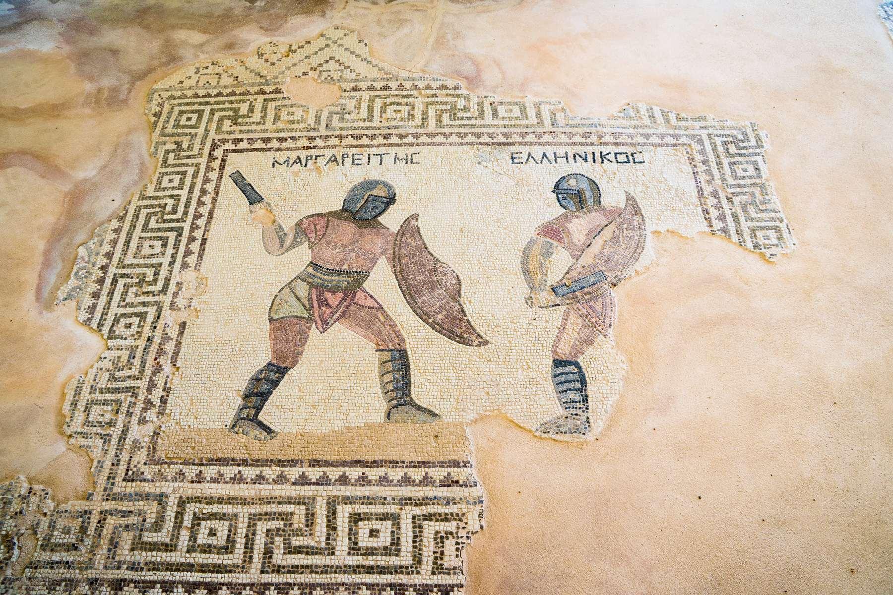 Воины на древне-греческой мозаике в Курионе