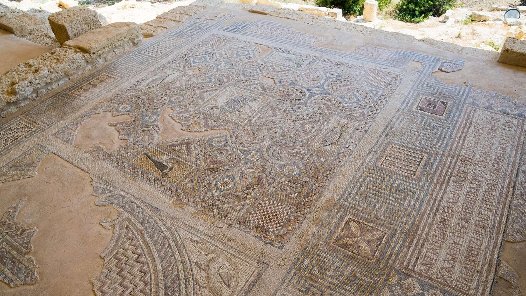 Фрагменты мозаики под крышами Куриона