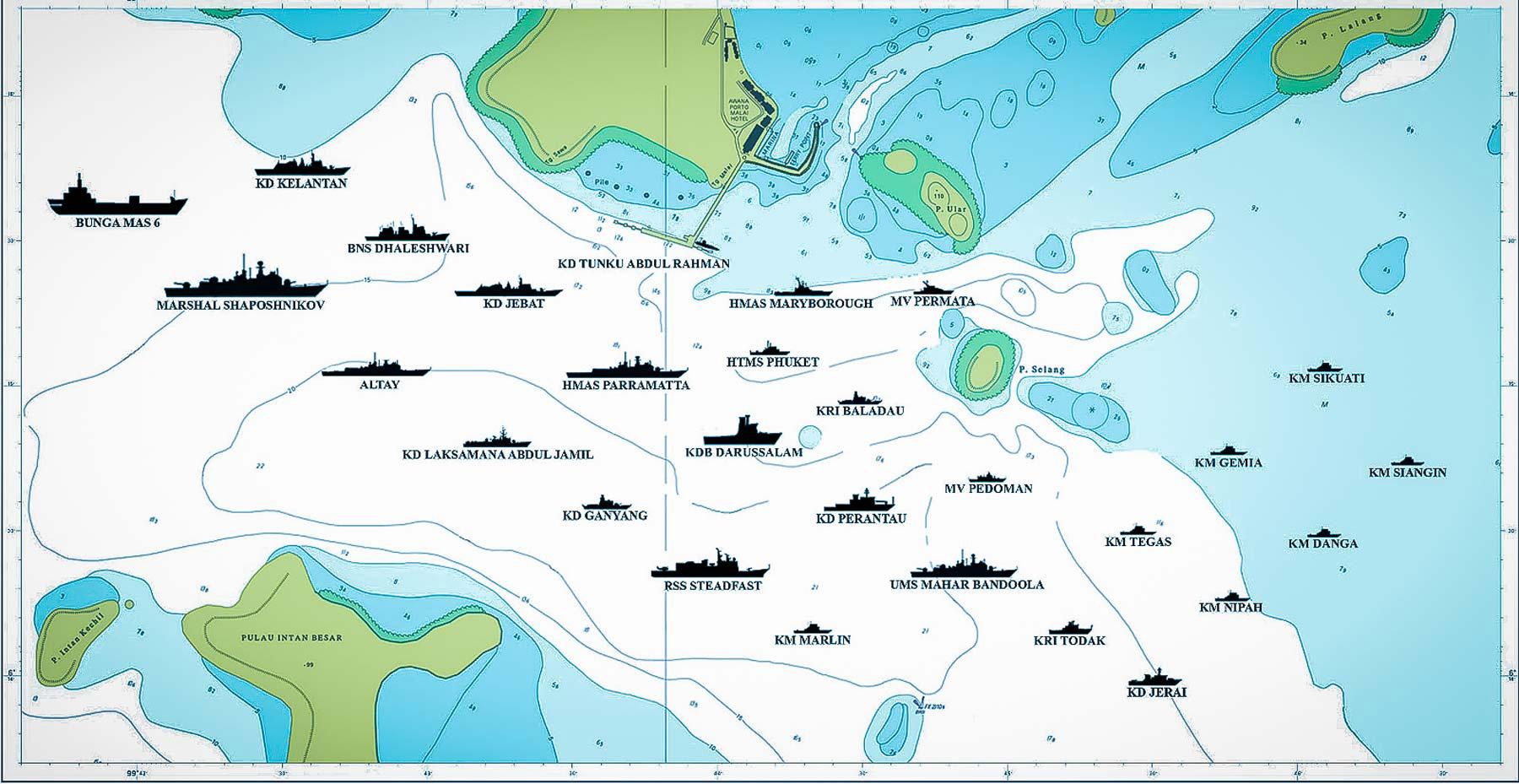 Карта расстановки военно-морских сил на выставке Лима на Лангкави