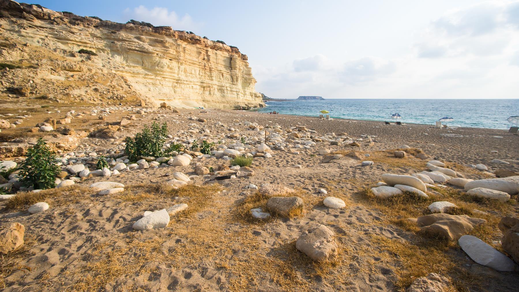 Красивый вид на море пляжа Пафоса