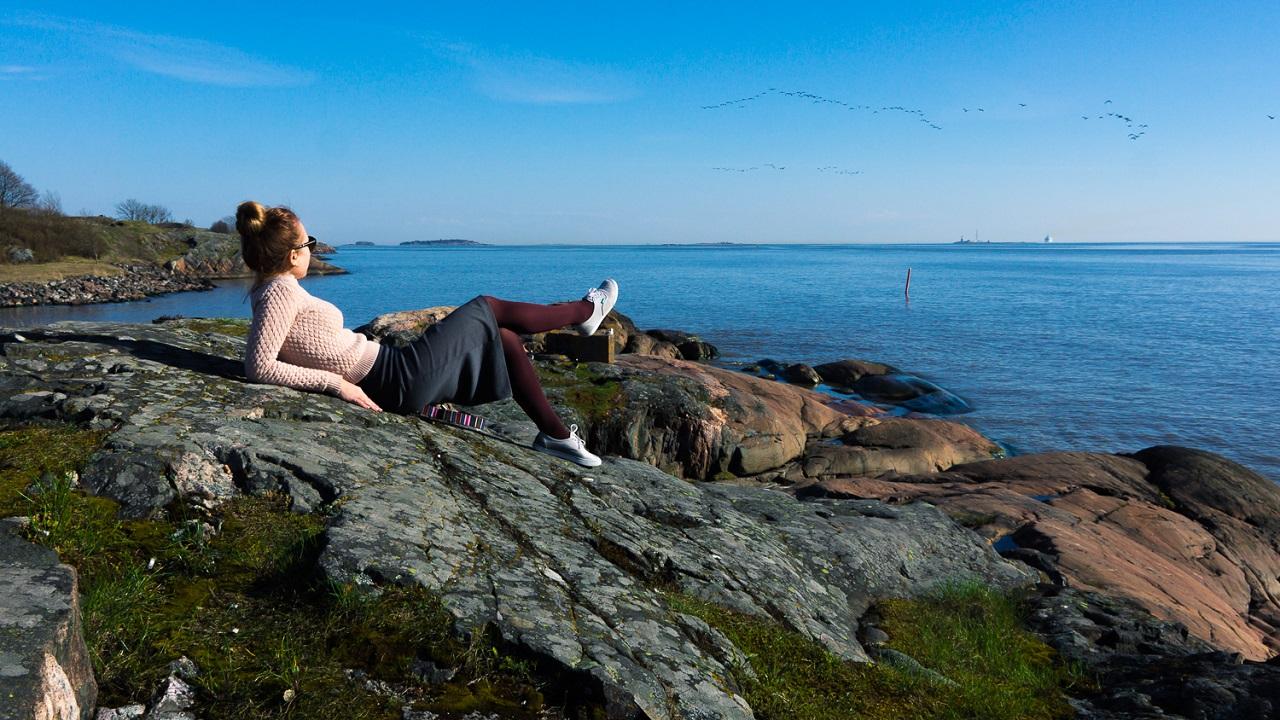 Привал для созерцания красоты финской природы на Пикку-Мустасаари