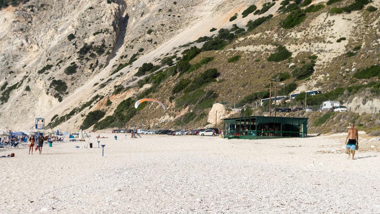 Взлетная полоса для парапланеристов на пляже Миртос (Myrtos)