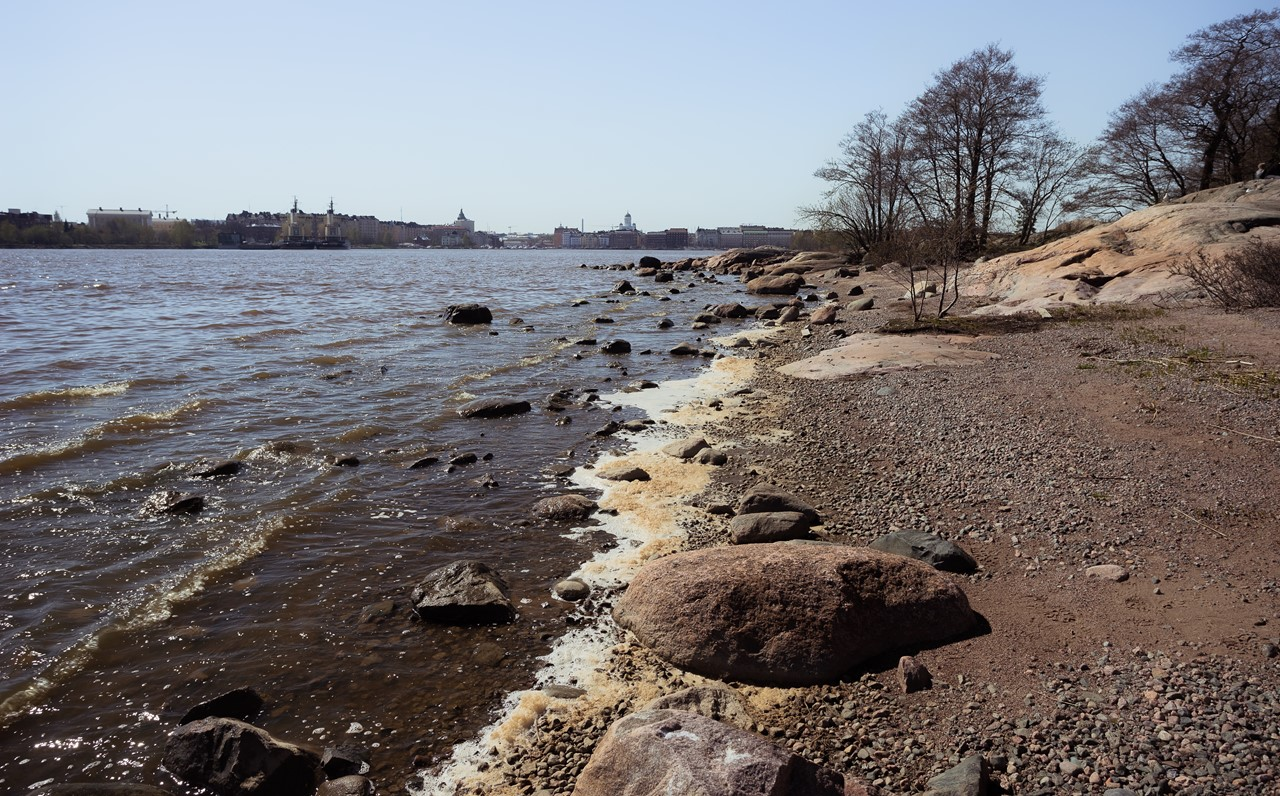 Вид с острова-зоопарка на город Хельсинки