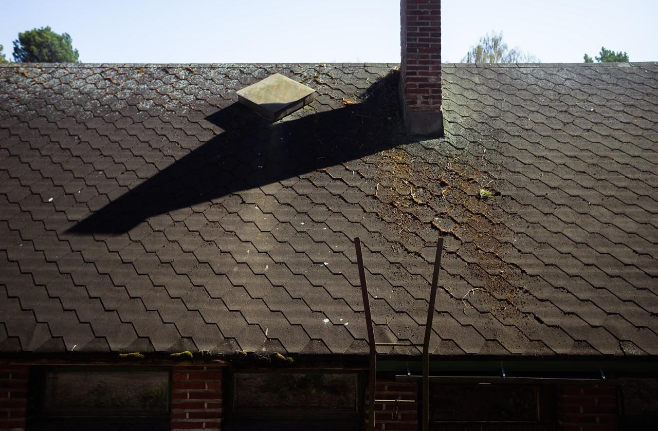 Чешуйчатая крыша технического домика