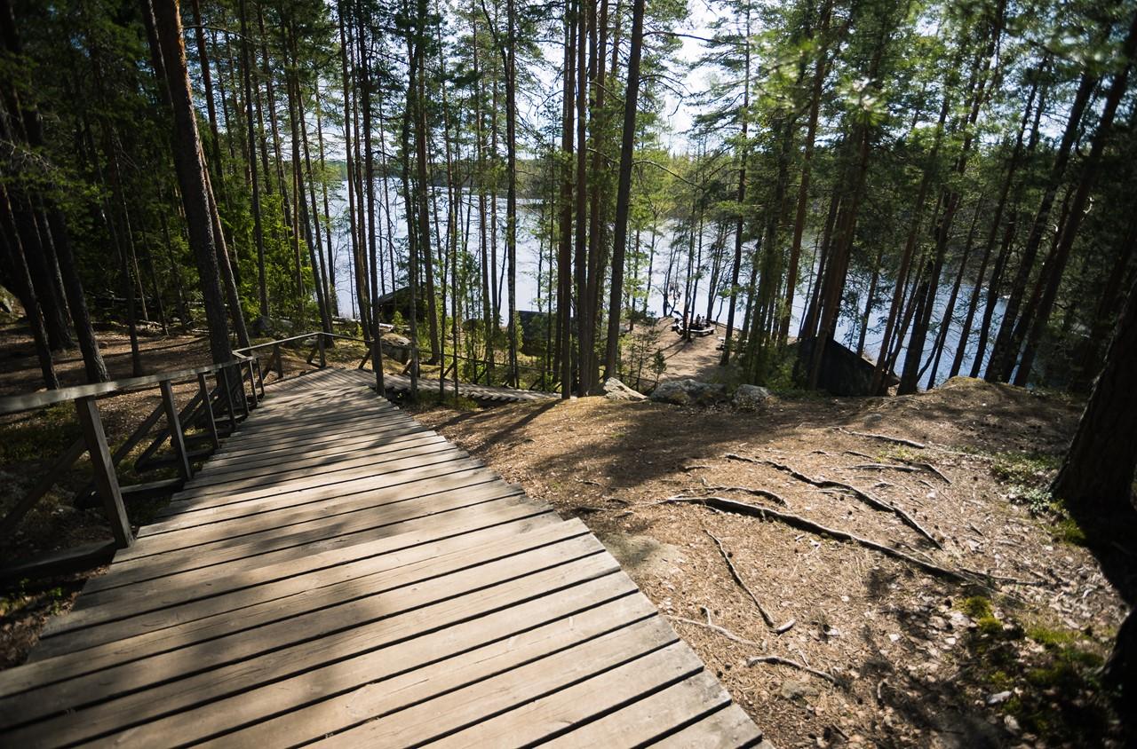 Спуск к туристической базе около подвесного моста в Реповеси