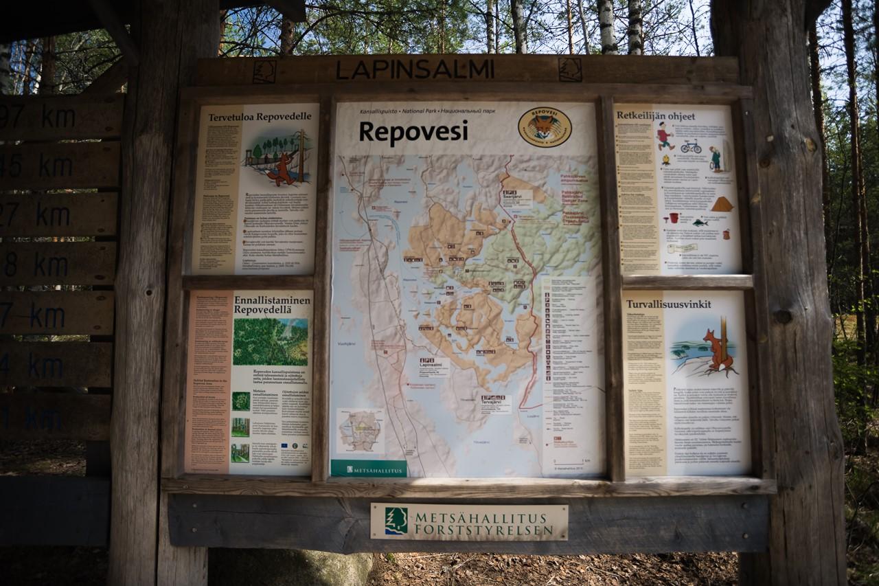 Карта парка Реповеси на информационном стенде