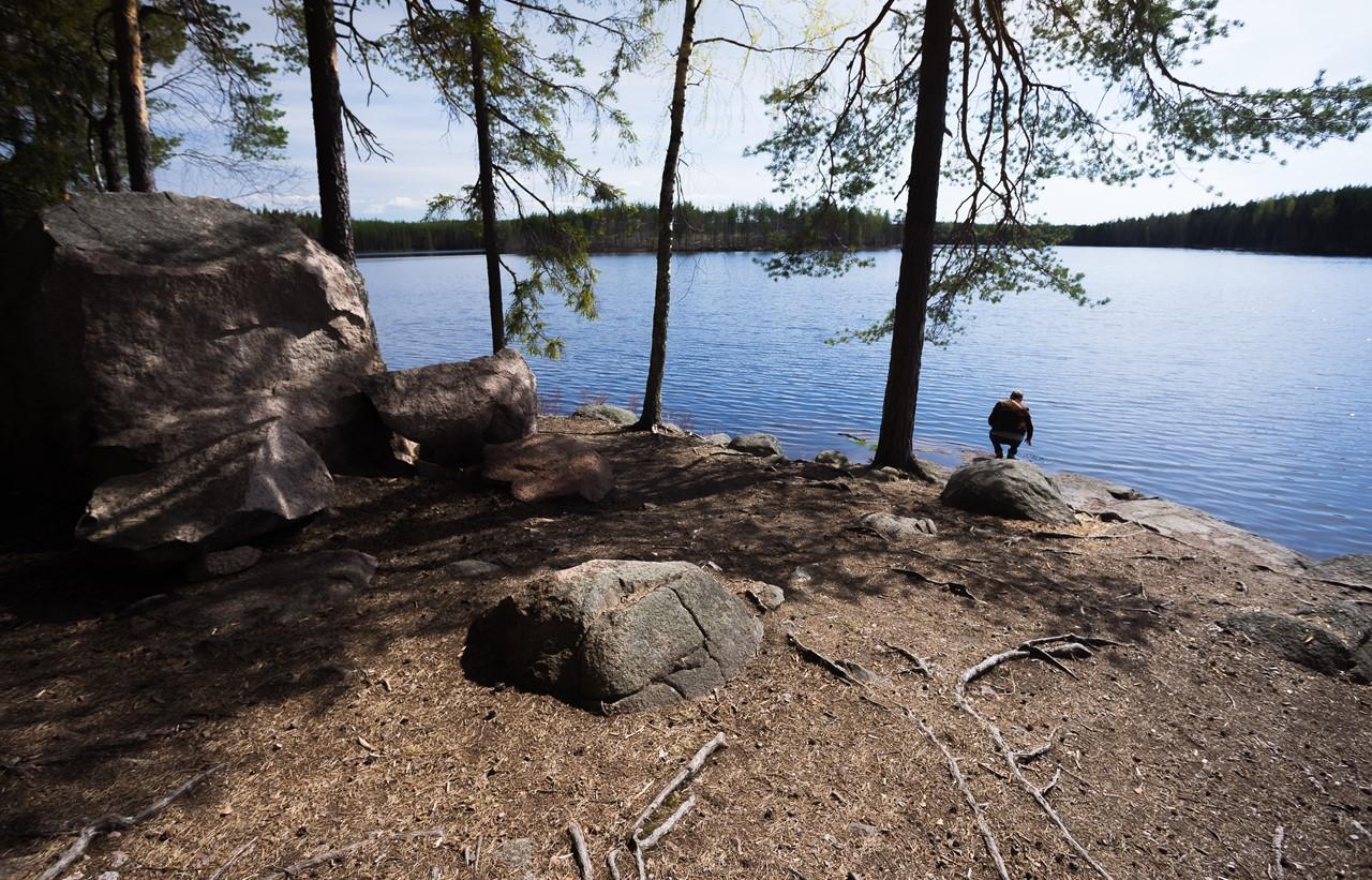 Нашли укромное место на озере Katajajärvi