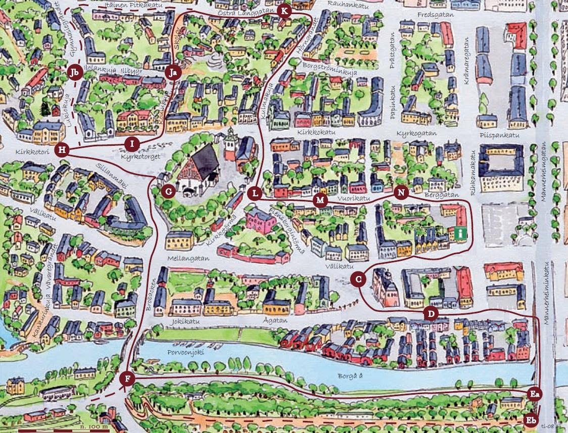 Карта маршрута по Порвоо