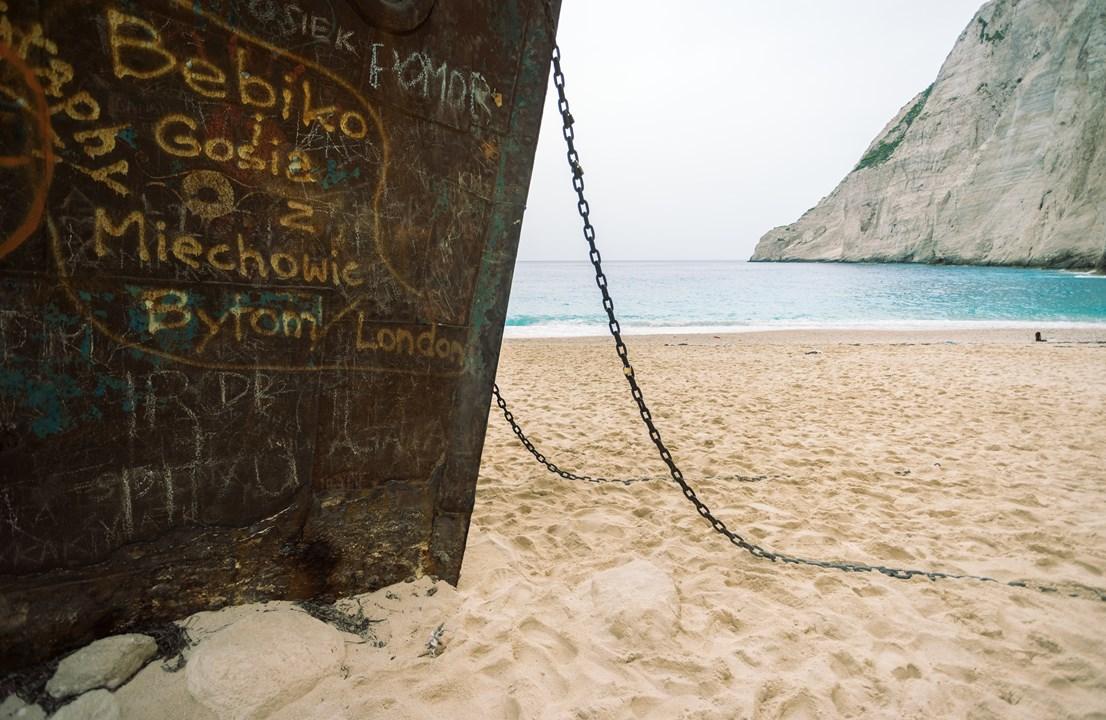 Якорные цепи корабля на пляже Навагио