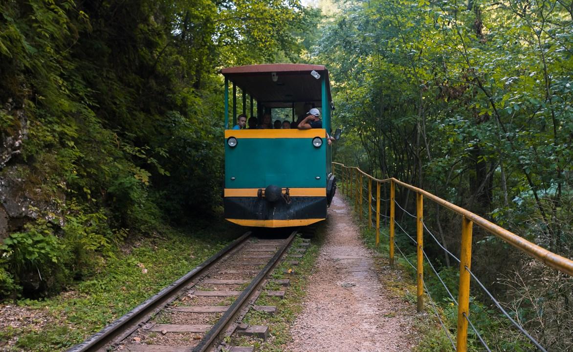 Дрезина едет по рельсам Гуамского ущелья
