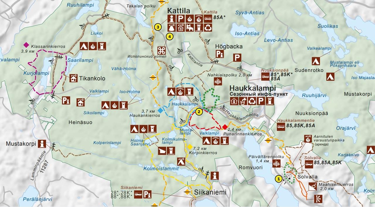 Карта национального парка Нууксио