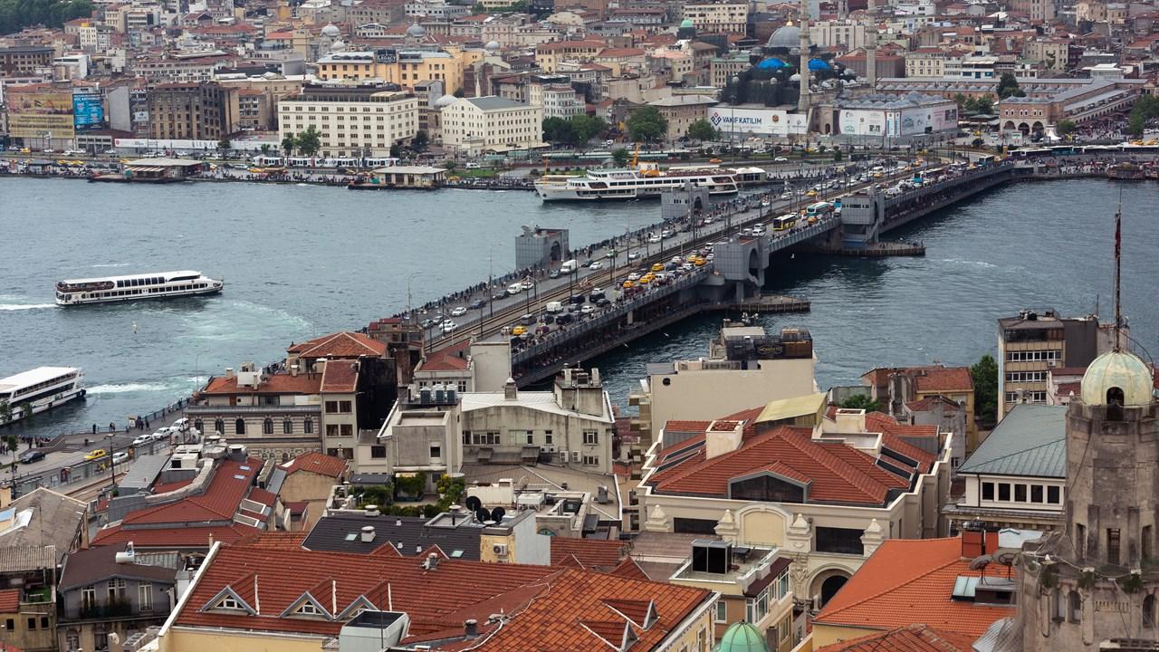 Галатский мост с рыбными ресторанами